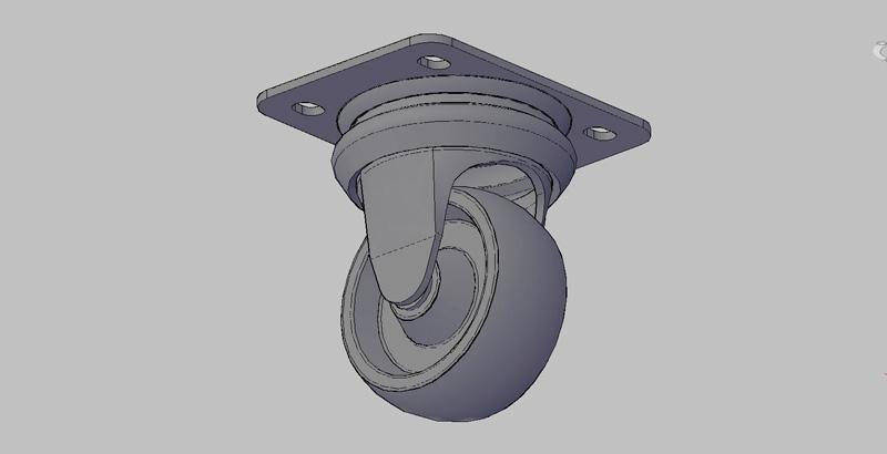 rueda rotatoria 80x35, en 3 dimensiones