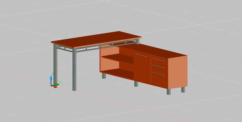 mesa de escritorio de 1,40x0,60m. con auxiliar de 1,20x0,40 de cajones y estantes, en 3 dimensiones