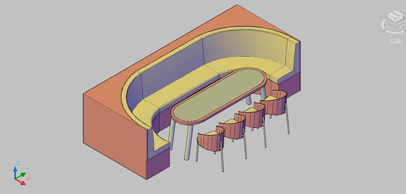 conjunto de mesa con butaca y sillas para cafetería