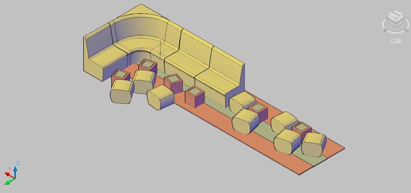 equipamiento cafetería compuesto por sillones, pufs y mesas bajas
