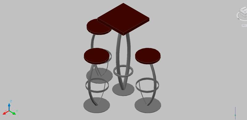 Bloques autocad gratis de mesa alta con taburetes para bar o cafeter a - Mesa alta con taburetes ...