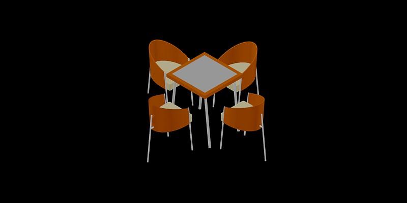 mesa de cafetería con 4 sillas en 3d, tipo 2