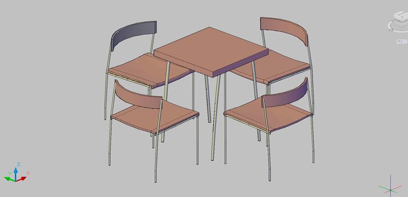 mesa de cafetería con 4 sillas en 3d