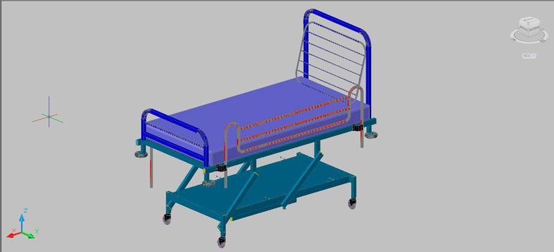 cama de hospital en 3d (3 dimensiones)