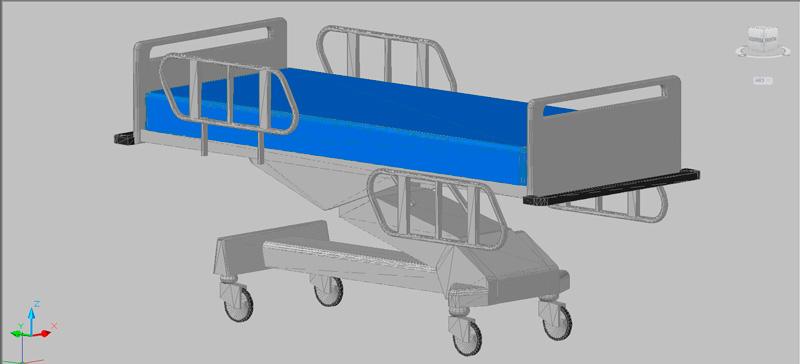 cama de hospital en 3d, mod. 02 (3 dimensiones)