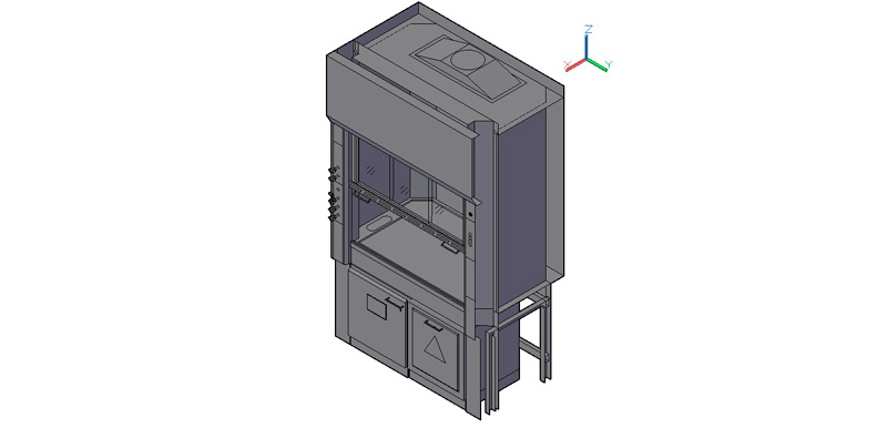 vitrina de gases laboratorio con almacenamiento inferior 3d