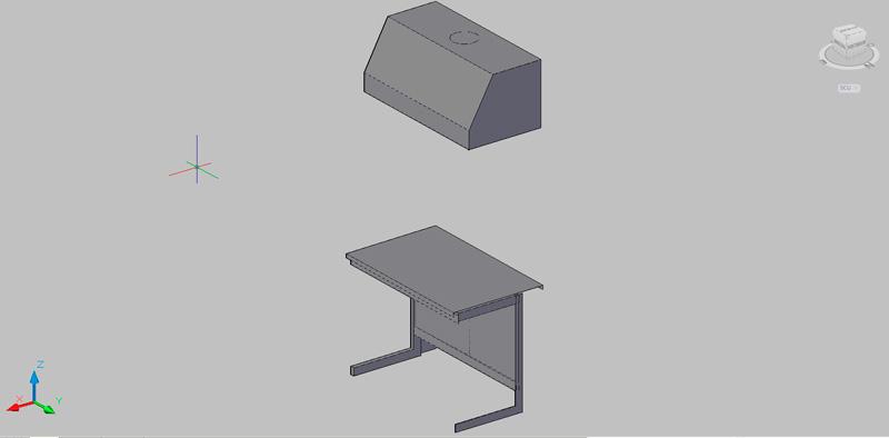 Mesa de laboratorio con campana extractora en 3d