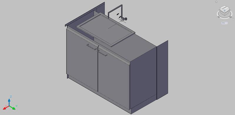 mueble bajo con fregadero para laboratorio en 3d
