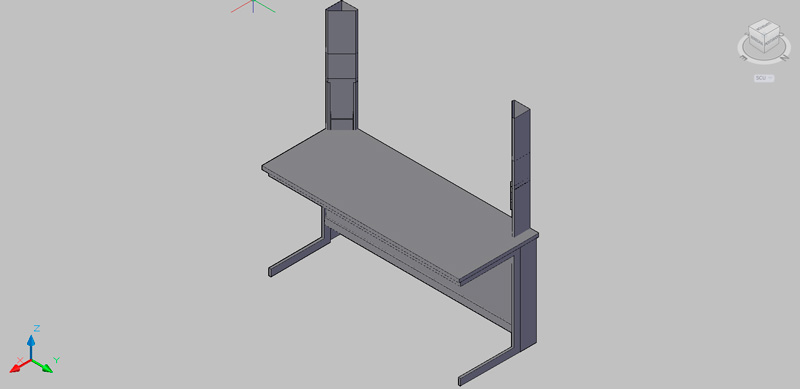 mesa de trabajo con columnas de servicios laterales
