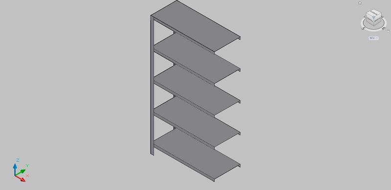 estantería de pared para laboratorio en 3d
