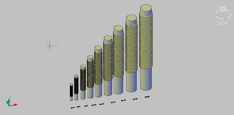 varillas roscadas en 3d con métricas de M-4 a m-20