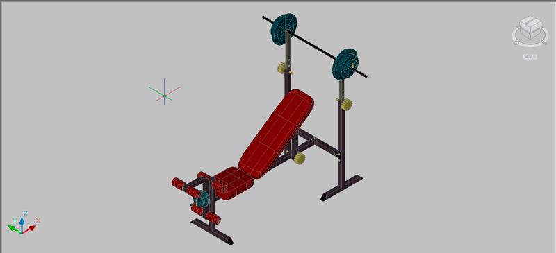 banco para press pectoral en 3 dimensiones
