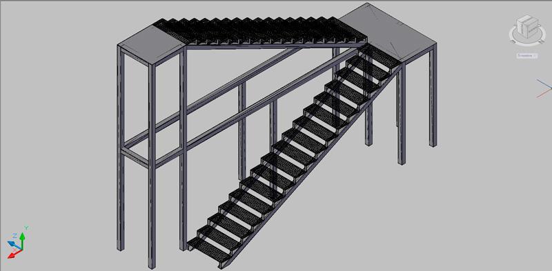 escalera de dos tramos en 3 dimensiones