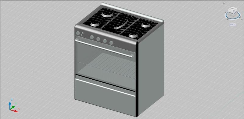 cocina con horno en 3 dimensiones