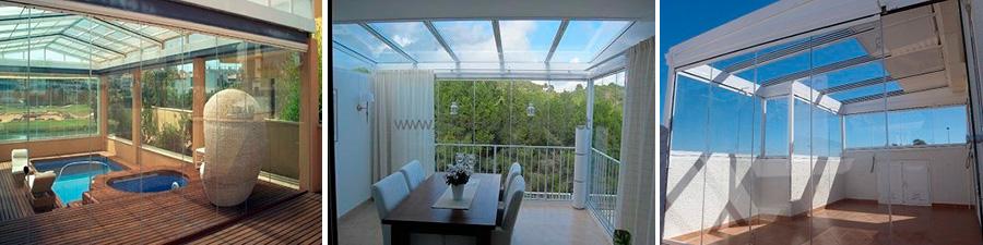diversos ejemplos de cerramientos de cortinas de cristal