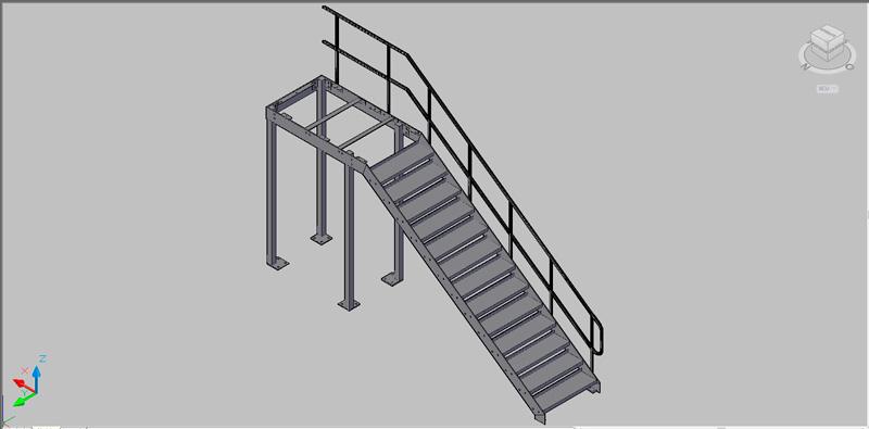 escalera recta de un tramo de estructura metálica en 3 dimensiones