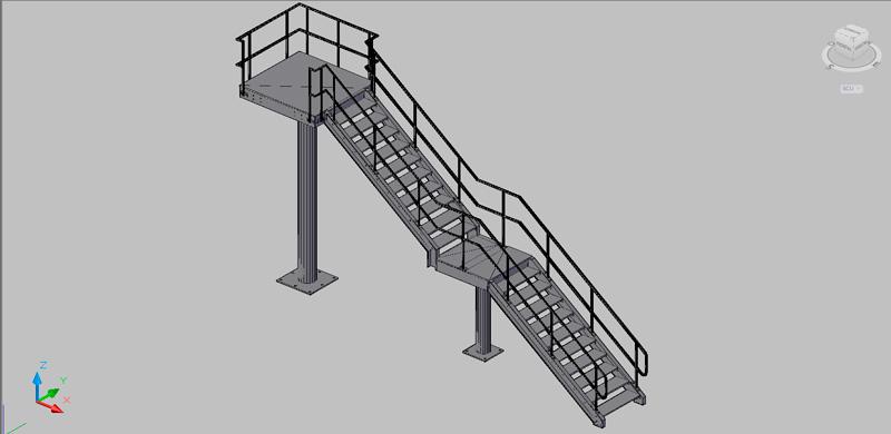 escalera recta de dos tramos en 3 dimensiones