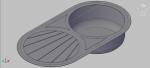 fregadero circular con escurridor en 3 dimensiones