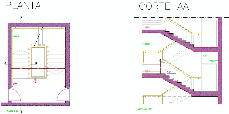 Sección vertical de escalera y Planta