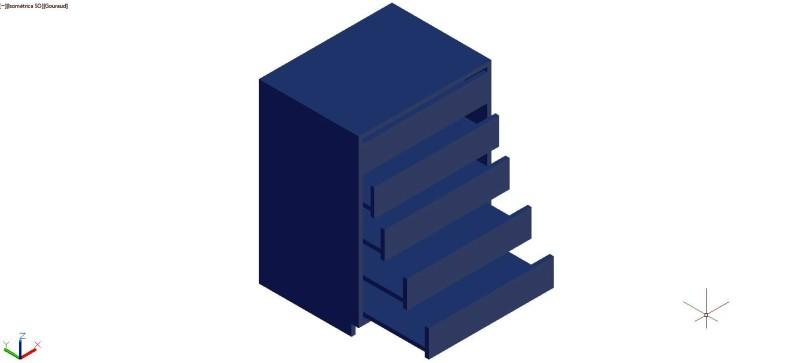 mueble archivador de planos en horizontal en 3 dimensiones, con 5 cajones