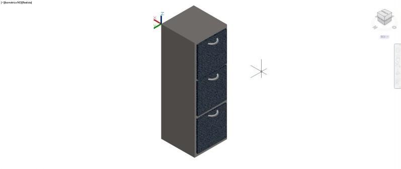 Mueble archivador vertical de oficina, con 3 cajones en 3 dimensiones