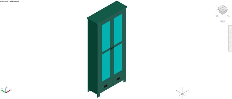 mueble vitrina en 3D con dos puertas y dos cajones inferiores
