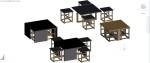 mesas bajas con taburetes en 3D