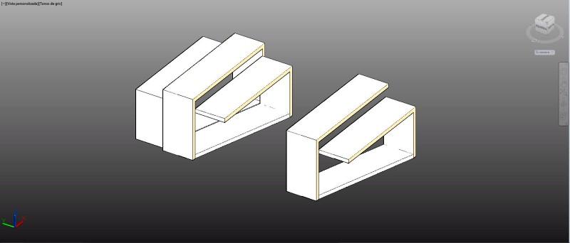 estantería de diseño moderno en 3d