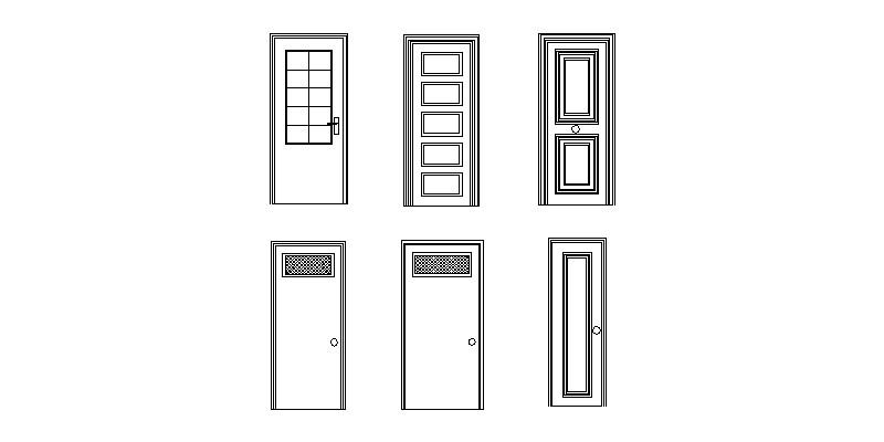 6 diseños en 2d puertas en alzado