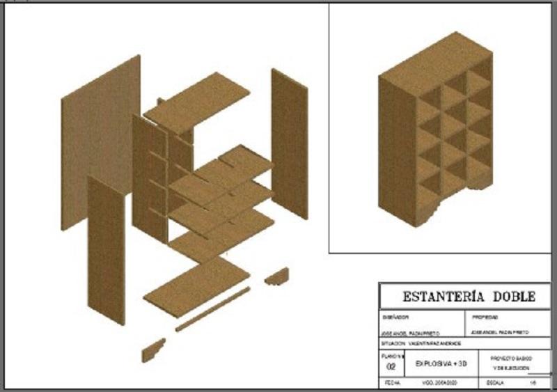 diseño en 3 dimensiones estantería con despiece para fabricación