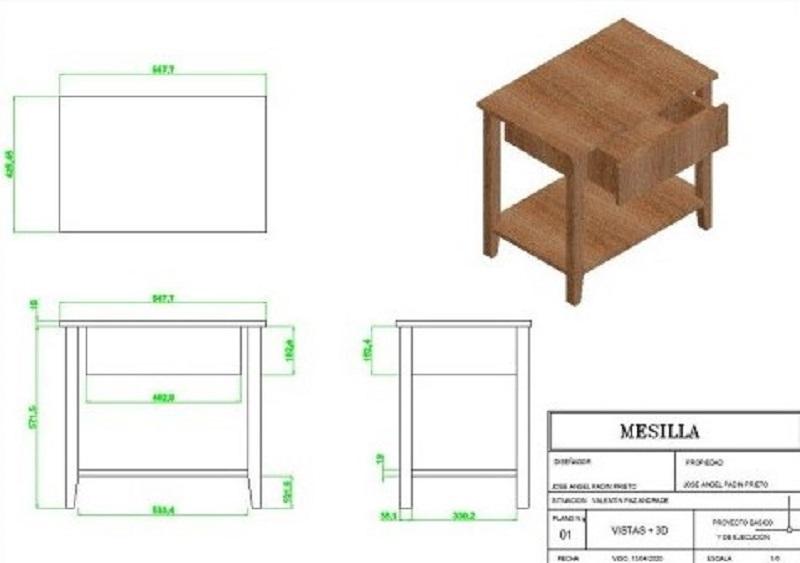completo proyecto de diseño de mesilla en 3 dimensiones