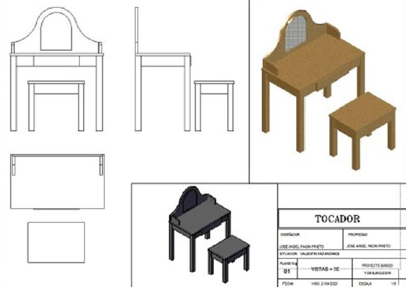 completo proyecto de diseño de mueble tocador en 3 dimensiones