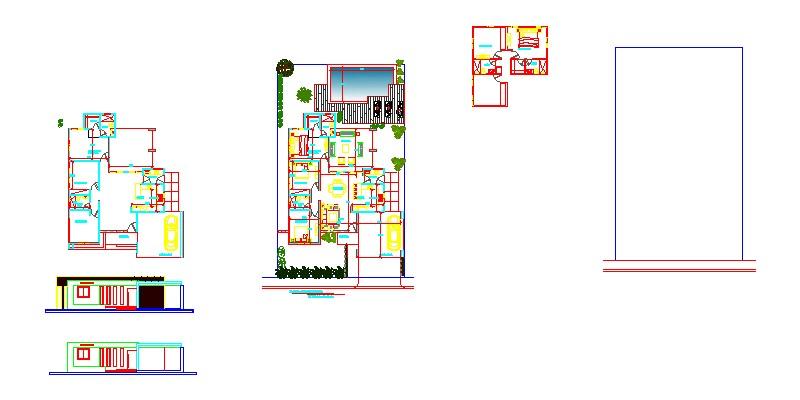Planos de proyecto de vivienda unifamiliar con piscina, plantas y alzados.