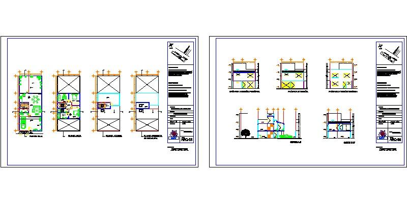 proyecto arquitectónico de vivienda con vistas en planta y en sección