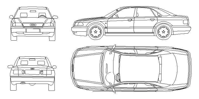 Audi A8 (D2) Primera generación 1994-2003, Alzados anterior, posterior, lateral y vista en planta.