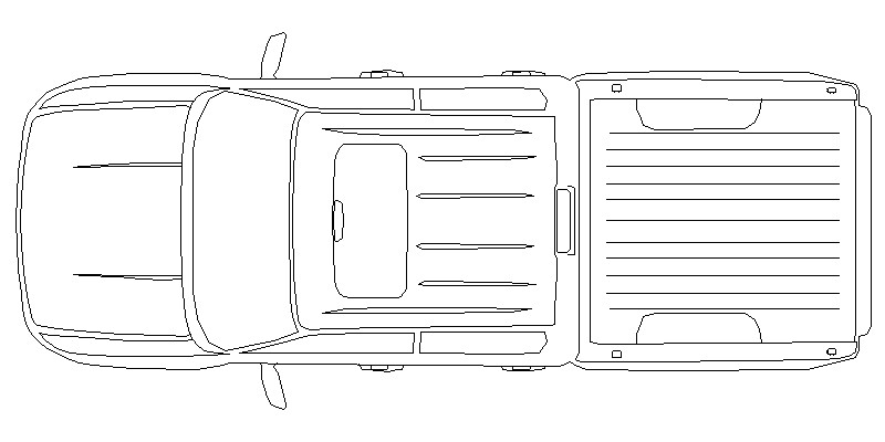 Vista en planta de camioneta Ford 150 de cuatro puertas