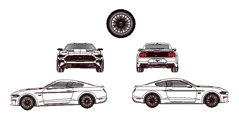 Ford Mustang en alzado frontal, posterior y laterales, modelo GT de 2018