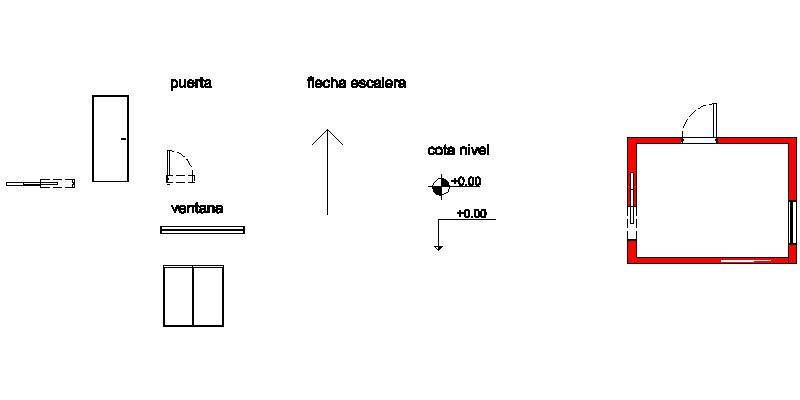 Bloques dinámicos: puerta, ventana, cotas, niveles y flechas