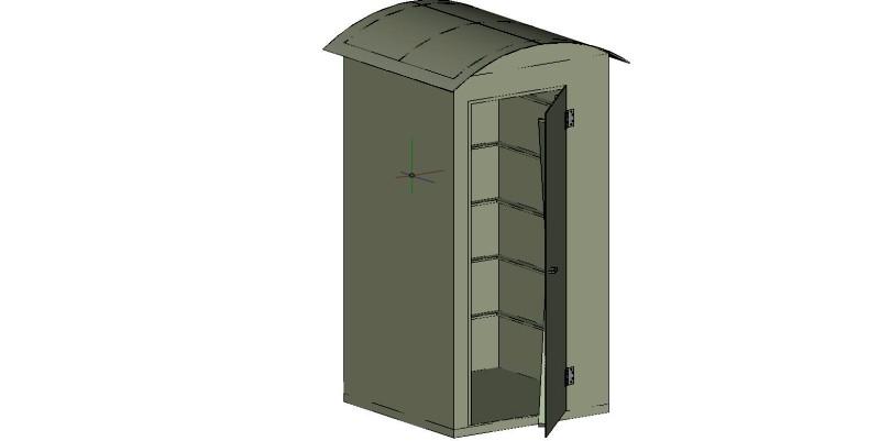 cabina para sanitario portátil en 3 dimensiones