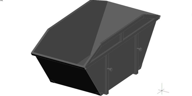contenedor de obra de 8 m3 de capacidad en 3 dimensiones