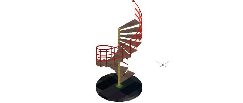 escalera caracol compensada de 17 escalones y 18 cm de altura de tabica en 3 dimensiones
