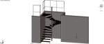 escalera recta y con tramo curvo  en 3 dimensiones con barandilla de tubo