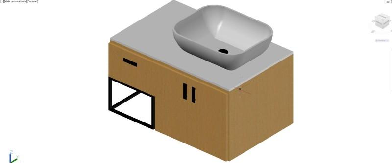 mueble lavabo superpuesto con dos puertas en 3 dimensiones