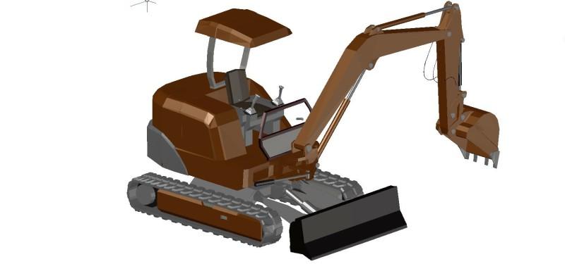 mini excavadora de orugas o cadenas, con pala delantera y brazo con cazo de retroexcavadora, en 3 dimensiones