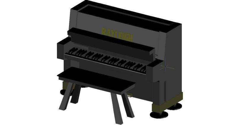 piano con taburete en 3d