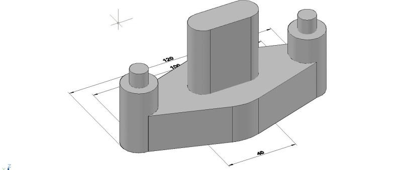pieza mecanismo en 3d, con cotas de dimensiones