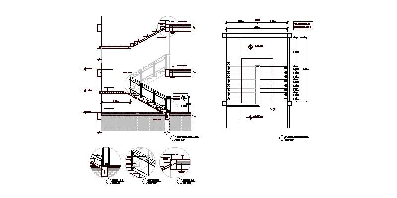 detalles constructivos y vistas completas de escalera 2D
