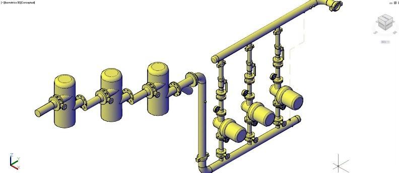 circuito conducción mecánica de válvulas y llaves en 3D