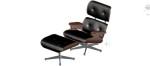 Sillón Lounge Chair Ottoman en 3 dimensiones con reposapiés. Sillón Eames Lounge.