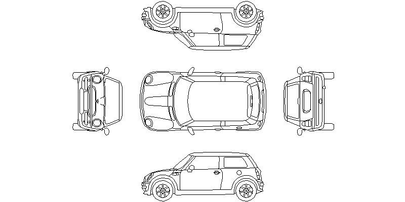 vistas completas de coche Mini Cooper en 2 dimensiones